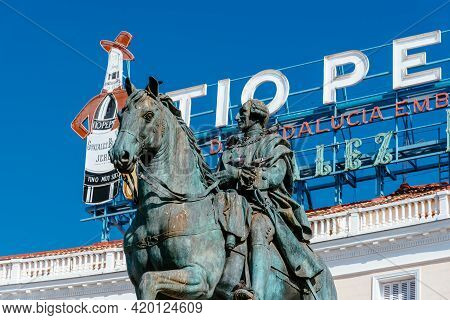 Madrid, Spain - May 8, 2021: Puerta Del Sol In Central Madrid. Equestrian Statue Of King Charles Iii