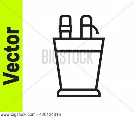 Black Line Pencil Case Stationery Icon Isolated On White Background. Pencil, Pen, Ruler In A Glass F