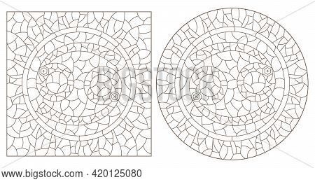 Set Of Contour Illustrations In The Style Of Stained Glass With The Signs Of The Zodiac Cancer, Dark