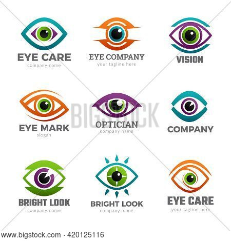 Eyes Logo. Optical Symbols For Ophthalmology Clinic Clean Vision Recent Vector Collections