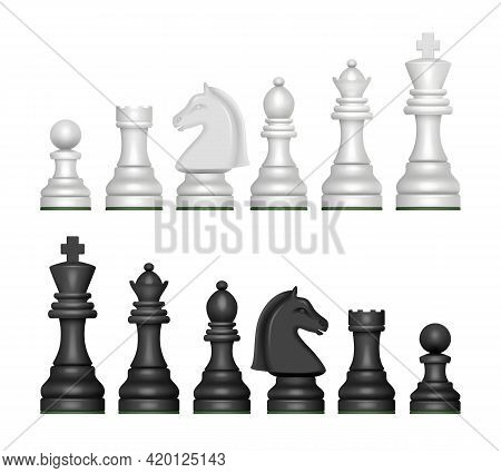 Chess Figures. Strategy Game Symbols Pawn Horse Knights King And Queen Decent Vector Realistic Pictu
