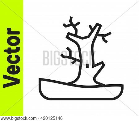 Black Line Bare Tree Icon Isolated On White Background. Vector