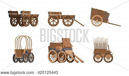 Wooden Wagon. Vintage Carriage Western Wild West Vehicles Old Farm Cart With Big Wheel Garish Vector
