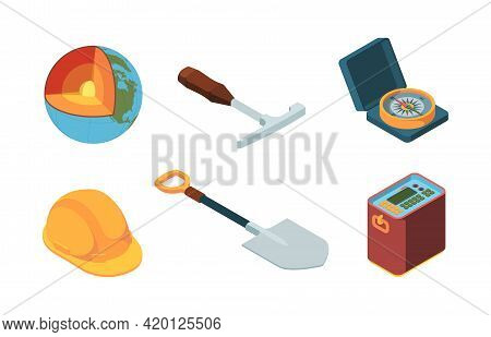 Earth Exploration. Isometric Geologist Equipment Ground Layers Mantle Of Earth Technology Processes