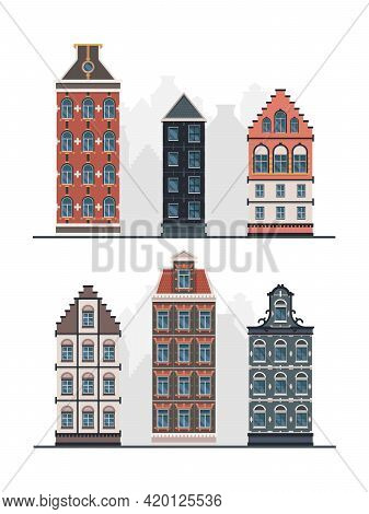 Old Buildings. Antique European Constructions Vintage Urban Facades In Flat Style Garish Vector Exte