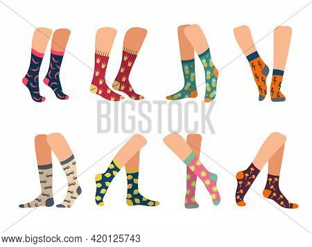 Socks On Feet. Active Lifestyle Socks On Legs Male And Female Underwear Colorful Textile Woolen Clot