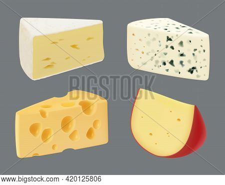 Cheese Realistic. Tasty Gourmet Sliced Food Culinary Milk Products Appetizer Breakfast Time Mozzarel