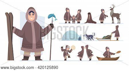 Ethnic Eskimo People. Authentic Alaska Persons Male And Female Wild Hunters Exact Vector Adventure C