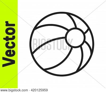 Black Line Beach Ball Icon Isolated On White Background. Children Toy. Vector