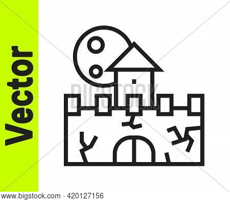 Black Line Castle Icon Isolated On White Background. Medieval Fortress With A Tower. Protection From