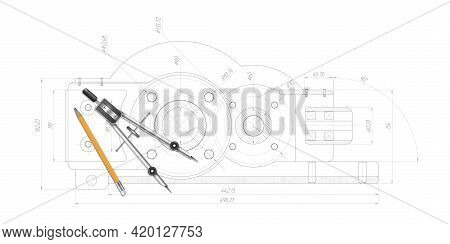Technical Drawing Background.school Education.pencil, Compasses.engineering Technical Banner .vector