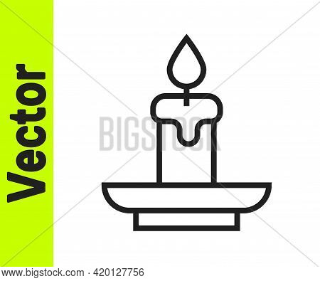 Black Line Burning Candle Icon Isolated On White Background. Cylindrical Aromatic Candle Stick With