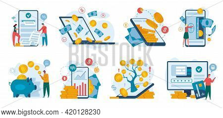 Online Banking. Finance Management Using Phone Or Laptop. Internet Payment, Money Transaction, Finan