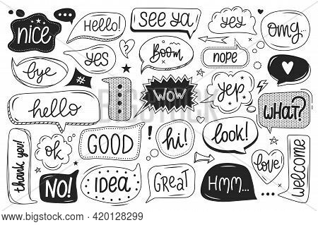 Cute Speech Bubble. Hand Drawn Talking Balloons With Handwritten Text. Dialog Text Bubbles With Funn