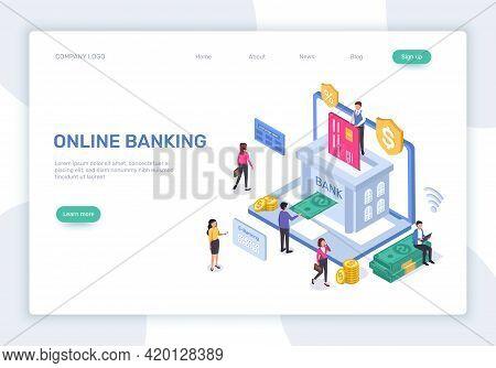Online Banking Landing Page. 3d Isometric Online Finance Management Concept. Secure Payments, Money