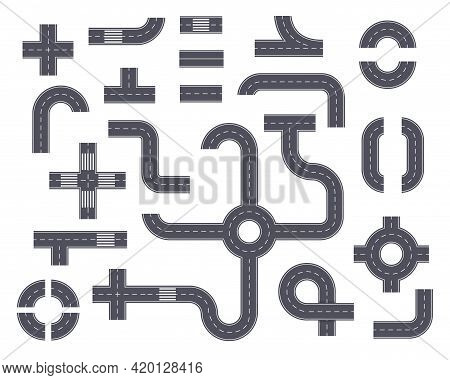Road Elements. Top View Highway With Footpath, Ring Road, Crossroad, Curved Path. Asphalt Street Par