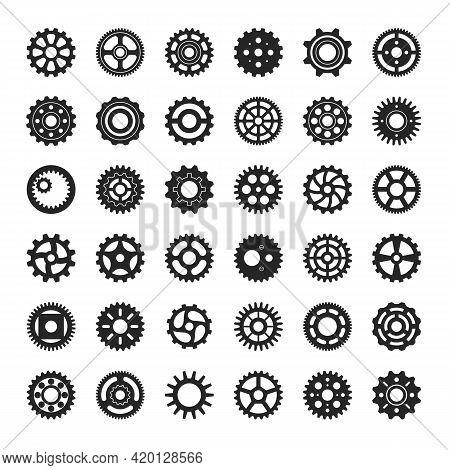 Gears Icon. Industrial Engine Gear Or Cog. Round Cogwheel Mechanism, Machine Engineering Cogs, Clock