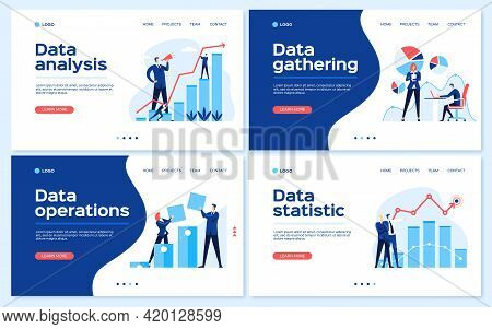 Data Analysis Landing Page. Statistical Analyst Team, Business Growth Strategy, Statistics Concept.