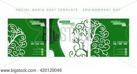 World Environment Day Design With White And Green Background. Set Of Social Media Post Template. Goo
