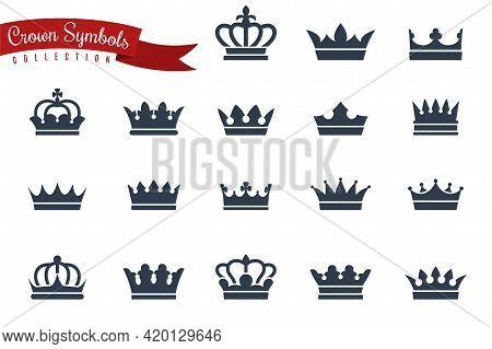 Icon Crown. Queen King Crowns Black Silhouette, Monarch Imperial Symbols, Coronation Princess Or Pri