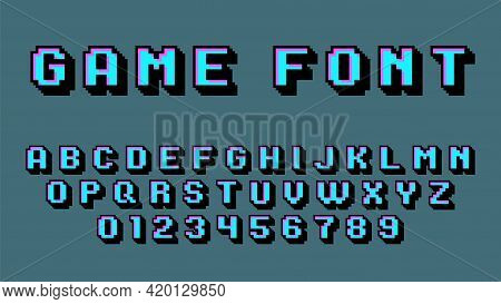 Pixel Art Alphabet. Retro Video Game Font, 8 Bit Graphic 80s, Old School Digital Square Numbers And