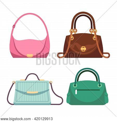 Bags Ladies. Women Handbags Fashion Accessories Collection. Summer Colorful Green, Pink And Brown Le