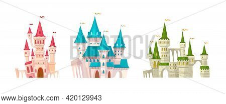 Castles. Medieval Castle With Towers And Flags, Fairytale Bright Colorful Mansions, Fortress With Fo