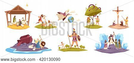 Bible Characters. Ancient Sacred Cult Book Characters, Holy Book Key Scenes, Christ Birth In Manger,