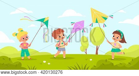 Children Fly Kites. Kids Launching Air Toys In Nature, Outdoor Games And Hobbies, Friends Play Toget