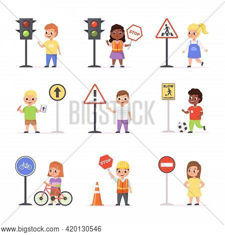 Kids Road Signs. Children Learn Road Rules, Boys And Girls With Traffic Lights, Educational Scenes,