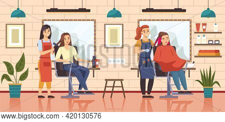 Female Hair Salon. Girls Sit In Barber Shop Chairs Front Mirrors, Horizontal Interior With Hairdress