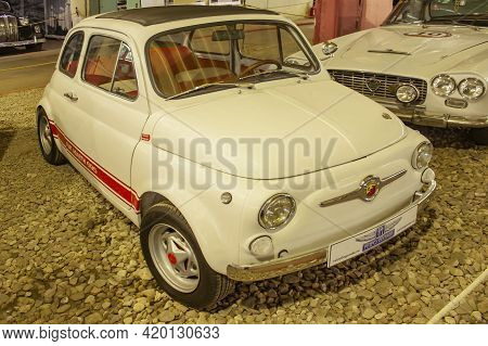 Transport Museum, Moscow, Russia-may 23, 2015. A Beautiful Vintage Fiat Car Is On Display At The Mos