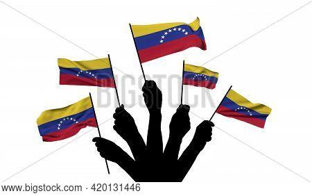 Venezuela National Flag Being Waved. 3d Rendering