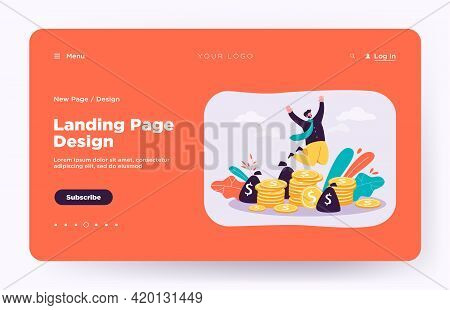 Happy Millionaire Jumping Near Pile Of Coins Flat Vector Illustration. Cartoon Businessman Or Banker
