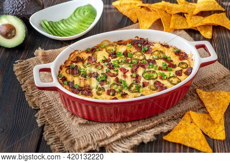 Dish Of Jalapeno Popper Dip With Cheese And Bacon