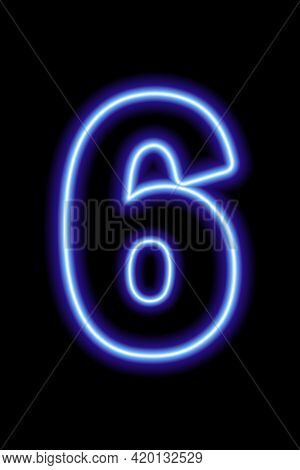 Neon Blue Number 6 On Black Background. Learning Numbers, Serial Number, Price, Place. Vector Illust