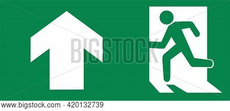 Vector Green Emergency Exit Sign For The Way To Escape. Fire Exit In The Building Symbol.