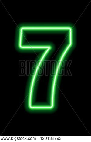 Neon Green Number 7 On Black Background. Learning Numbers, Serial Number, Price, Place. Vector Illus