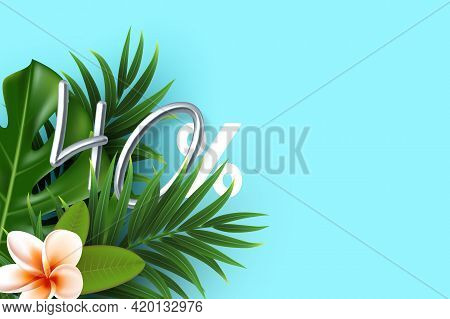 Tropical Leaves With 3d Silver 40 Percent Sign. Template With Copy Space For Summer Seasonal Discoun