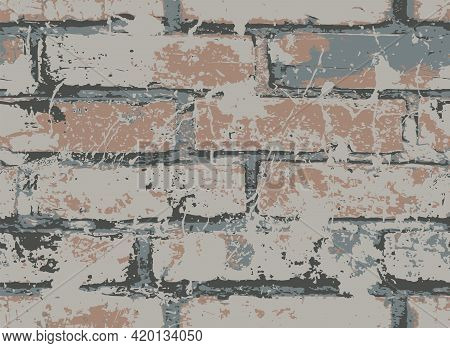 Abstract Seamless Pattern With Old Brown Brick Wall In The Grunge Style. Vector Texture With Splatte