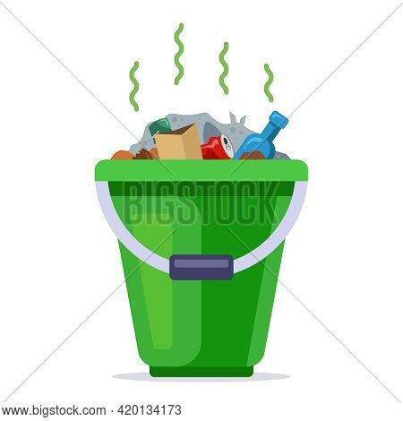 Green Bucket Filled With Rubbish. Household Household Waste. Flat Vector Illustration.