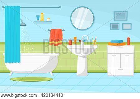 Cartoon Bathroom Interior. Tub And Sink, Flat Restroom In House. Hygiene Room, Bath Towels In Hotel.