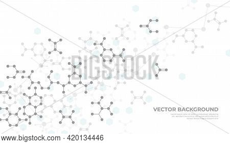 Molecular Structure Background. Chemistry Science, Medical Or Dna Researching. Grey Chemical Biochem