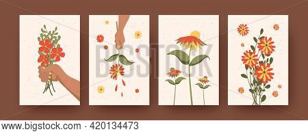 Set Of Contemporary Art Posters With Beautiful Flowers. Vector Illustration. .hands Holding Bunches
