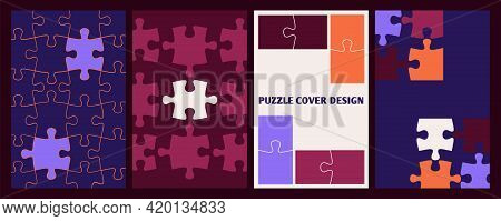 Puzzle Covers. Business Posters Template, Pieces Puzzles Complete. Cooperation Or Collaboration Meta