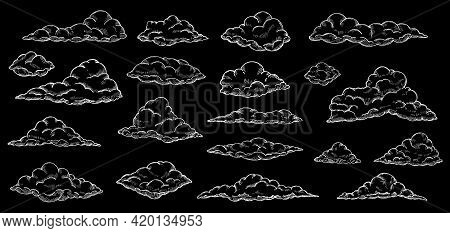 White Sketch Clouds. Hand Drawn Cloud, Sky Cloudscape. Outline Sketching Narture Vintage Vector Coll