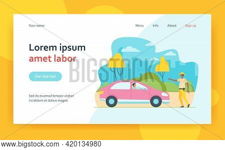 Police Officer Stopping Automobile On Road. Car, Diver, Rule Flat Vector Illustration. Traffic And V