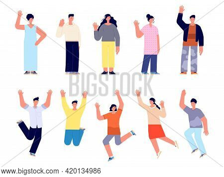 Modern Happy People Characters. Cartoon Female, Young Happy Woman Man Greetings. Isolated Smiling Bu