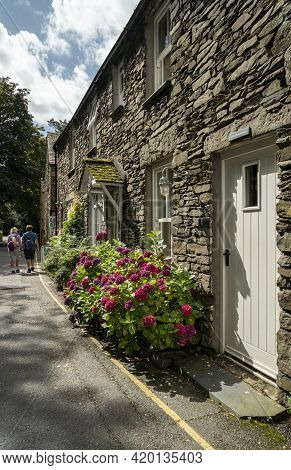 Grasmere, Cumbria, Uk, August 2020 - Stone Cottages In The Village Of Grasmere In The Lake District,