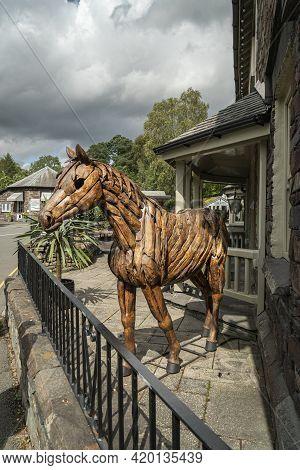Grasmere, Cumbria, Uk, August 2020 - A Lifesize Wooden Horse Statue